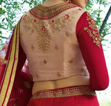 Red & Beige Designer Embroidered Art Silk Wedding Lehenga Choli-Saira's Boutique