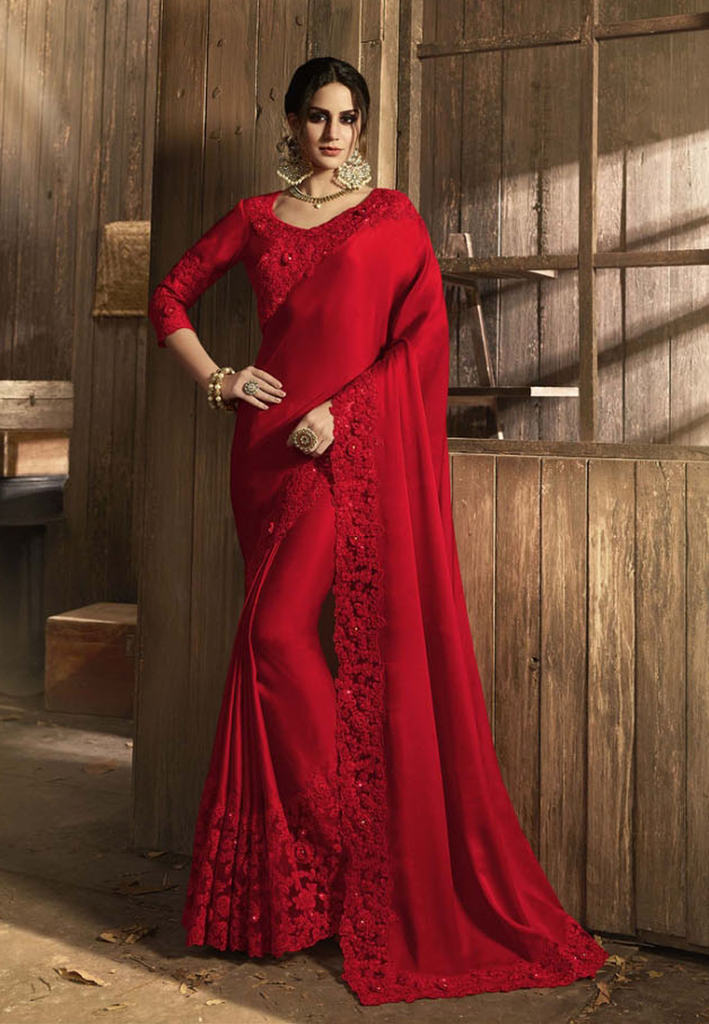 Red Designer Embroidered Fancy Party Wear Saree-Saira's Boutique