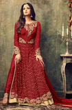 Red Designer Heavy Embroidered Net Anarkali Suit-Saira's Boutique