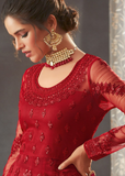 Red Designer Heavy Embroidered Net Wedding Layered Anarkali Gown-Saira's Boutique