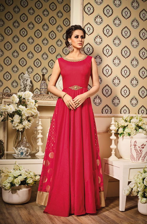 Red Designer Silk Evening Gown – Saira\'s Boutique