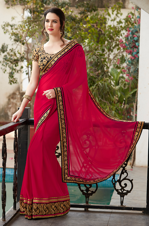Red & Gold Designer Embroidered Fancy Party Wear Saree-Saira's Boutique