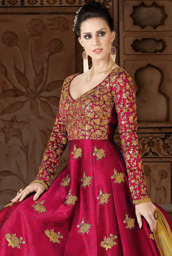 Red & Gold Designer Embroidered Silk Anarkali Gown-Saira's Boutique