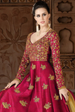 Red & Gold Designer Embroidered Silk Anarkali Gown