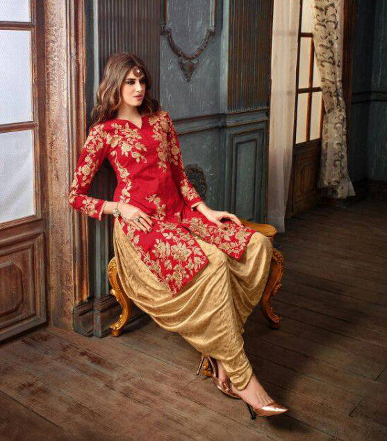 Red & Gold Designer Embroidered Silk Patiala Suit