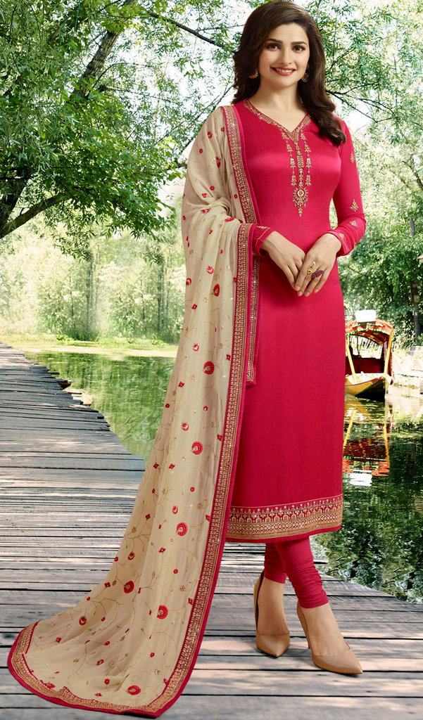 Red & Light Beige Designer Embroidered Satin Georgette Churidar Suit-Saira's Boutique