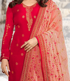 Red & Light Pink Designer Embroidered Party Wear Pant Suit-Saira's Boutique