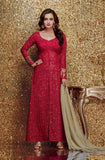 Red & Olive Green Georgette Designer Embroidered Churidar Suit