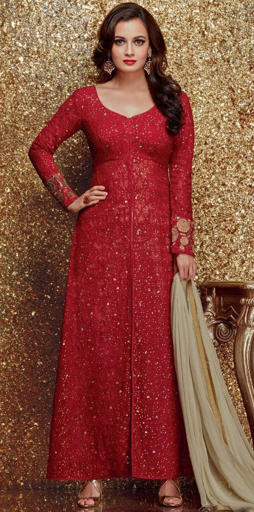 Red & Olive Green Georgette Designer Embroidered Churidar Suit-Saira's Boutique