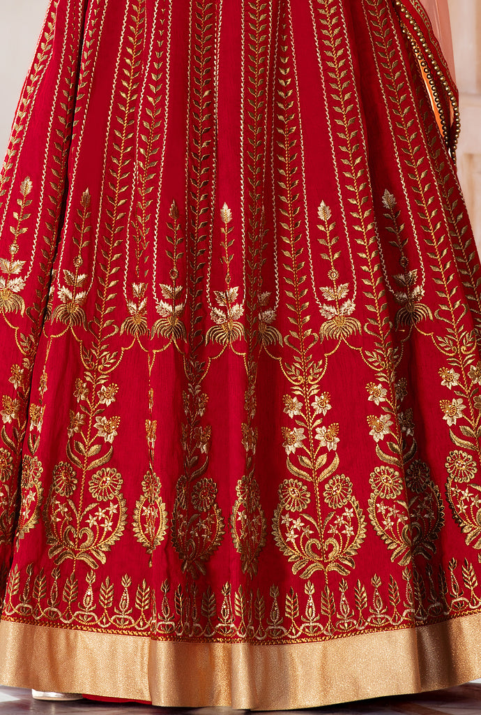 Red & Peach Designer Heavy Embroidered Silk Wedding Lehenga Choli-Saira's Boutique