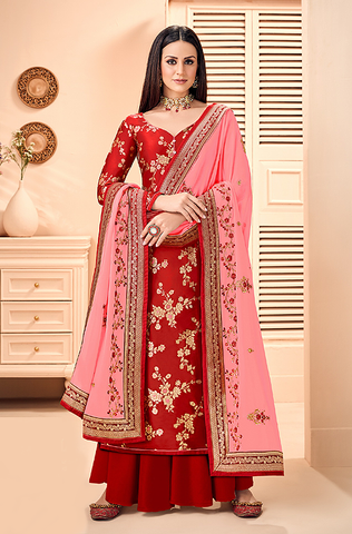 Pastel Pink Designer Heavy Embroidered Satin Silk Wedding Lehenga