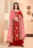 Red & Pink Designer Embroidered Silk Jacquard Palazzo Suit-Saira's Boutique