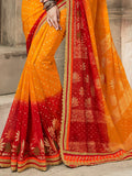Red & Yellow Designer Embroidered Bandhani Party Wear Saree