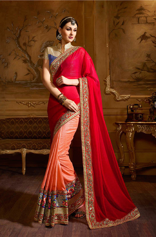 Red & Peach Designer Embroidered Party Wear Saree