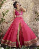 Rose Pink Designer Embroidered Georgette Anarkali Suit