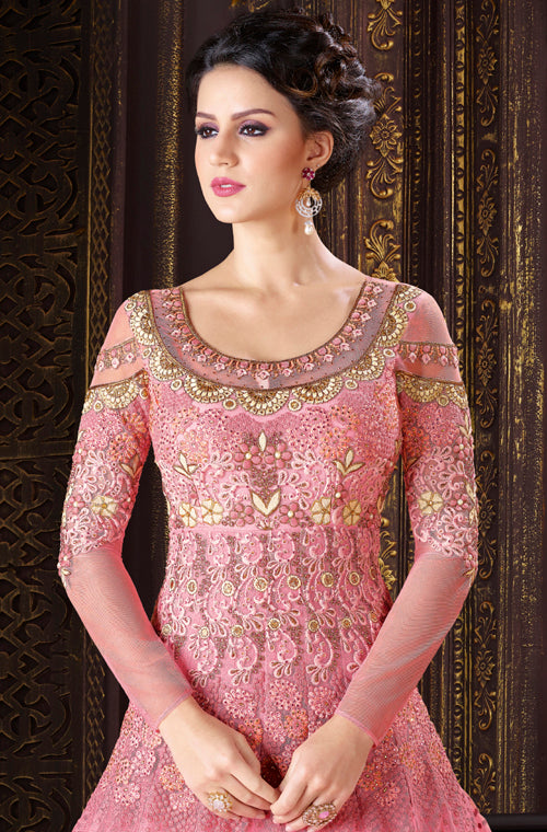 Rose Pink Designer Embroidered Net Gown