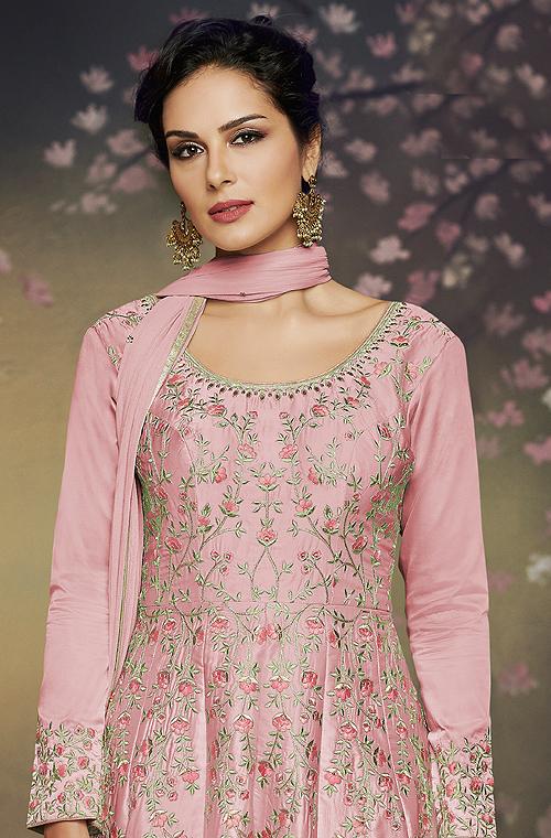 Rose Pink Designer Embroidered Satin Silk Anarkali Gown-Saira's Boutique