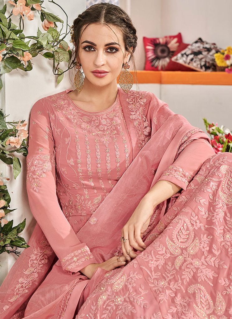 Rose Pink Designer Heavy Embroidered Georgette Anarkali Suit-Saira's Boutique