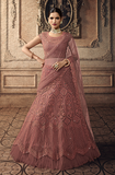 Rose Pink Designer Heavy Embroidered Net Wedding Lehenga-Saira's Boutique