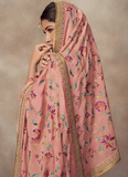 Rose Pink Designer Heavy Embroidered Silk Jacquard Sharara Suit-Saira's Boutique