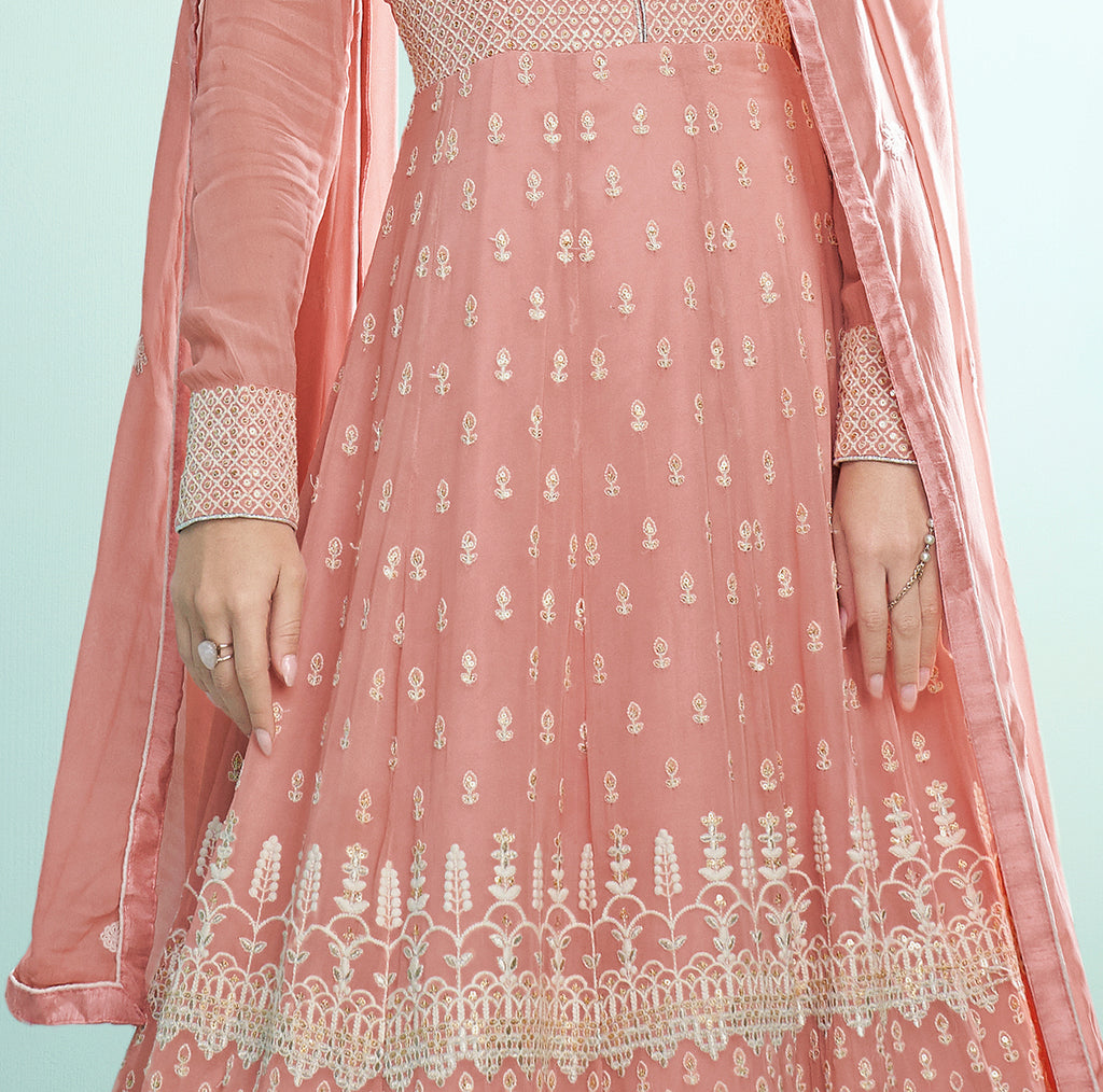 Rouge Pink Designer Embroidered Party Wear Anarkali Suit-Saira's Boutique