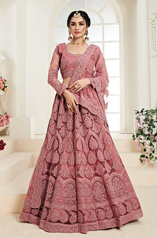 Gray Designer Heavy Embroidered Net Wedding Lehenga