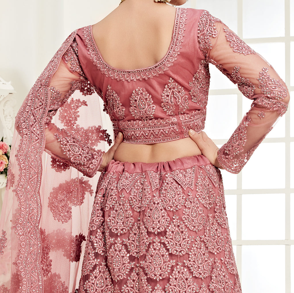 Rouge Pink Designer Heavy Embroidered Bridal Lehenga-Saira's Boutique