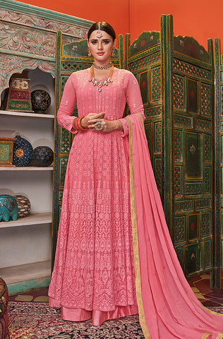 Light Pink Designer Embroidered Georgette Anarkali Suit