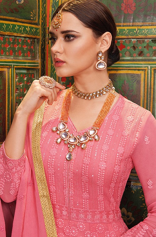 Rouge Pink Designer Heavy Embroidered Georgette Anarkali Suit-Saira's Boutique