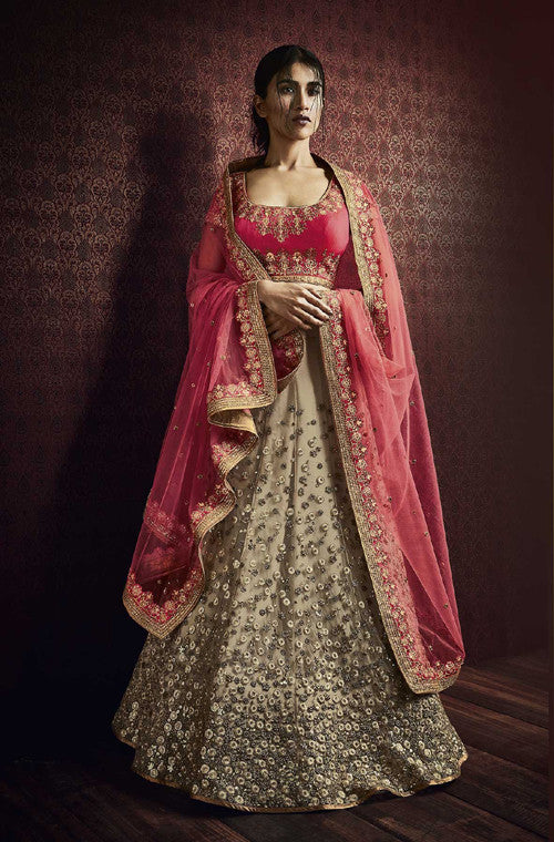 Rouge Pink & Beige Designer Embroidered Bridal Lehenga