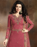 Rouge Pink Designer Embroidered Art Silk Sharara Suit-Saira's Boutique