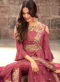 Rouge Pink Designer Embroidered Georgette Anarkali Suit