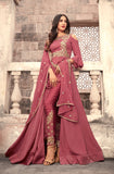 Rouge Pink Designer Embroidered Georgette Anarkali Suit-Saira's Boutique
