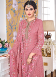 Rouge Pink Designer Embroidered Georgette Straight Cut Pant Suit-Saira's Boutique