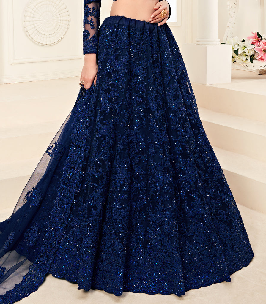 Royal Blue Designer Heavy Embroidered Bridal Lehenga-Saira's Boutique