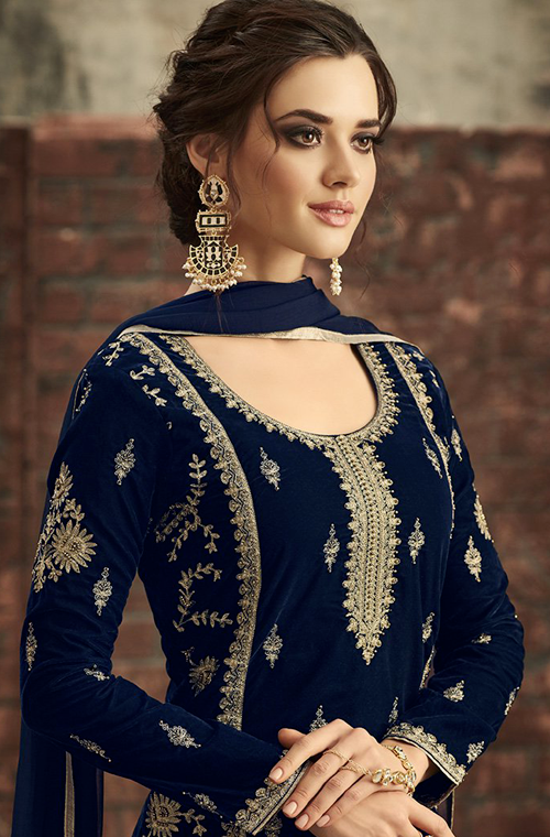 Royal Blue Designer Heavy Embroidered Velvet Pant Suit-Saira's Boutique