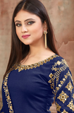 Royal Blue & Gold Designer Embroidered Art Silk Patiala Suit-Saira's Boutique