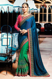 Royal Blue & Green Designer Embroidered Bridal Silk Saree