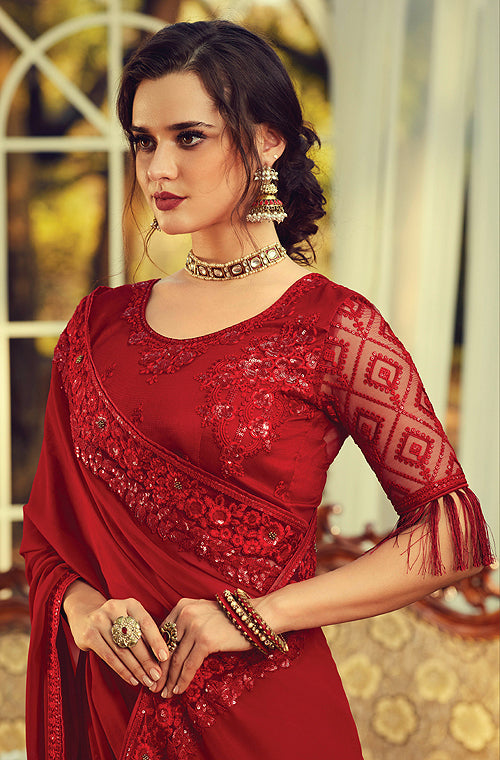 Ruby Red Designer Embroidered Georgette Party Wear Saree-Saira's Boutique