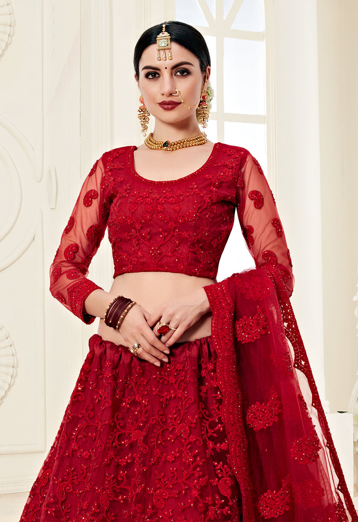 Ruby Red Designer Heavy Embroidered Bridal Lehenga-Saira's Boutique