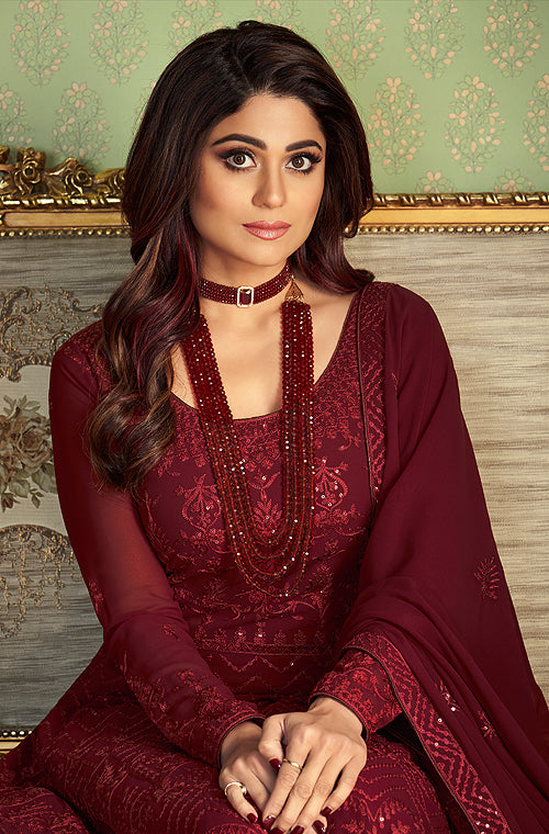 Ruby Red Designer Heavy Embroidered Wedding Anarkali Suit-Saira's Boutique
