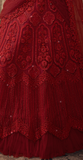 Ruby Red Designer Heavy Embroidered Net Wedding Lehenga-Saira's Boutique