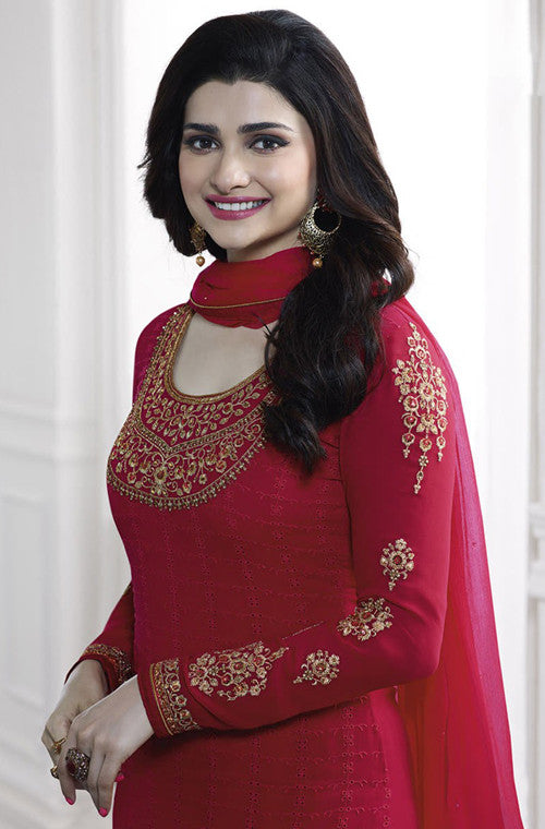 Ruby Red Georgette Designer Embroidered Churidar Suit