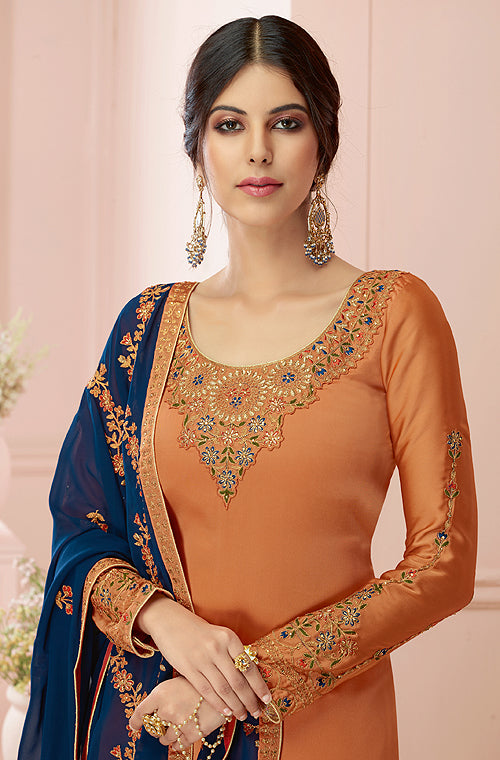 Rust Orange & Navy Blue Designer Embroidered Satin Georgette Pant Suit-Saira's Boutique
