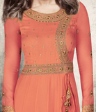 Rust Orange & Beige Designer Embroidered Georgette Anarkali Suit-Saira's Boutique