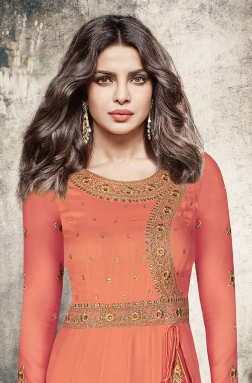 Rust Orange & Beige Designer Embroidered Georgette Anarkali Suit