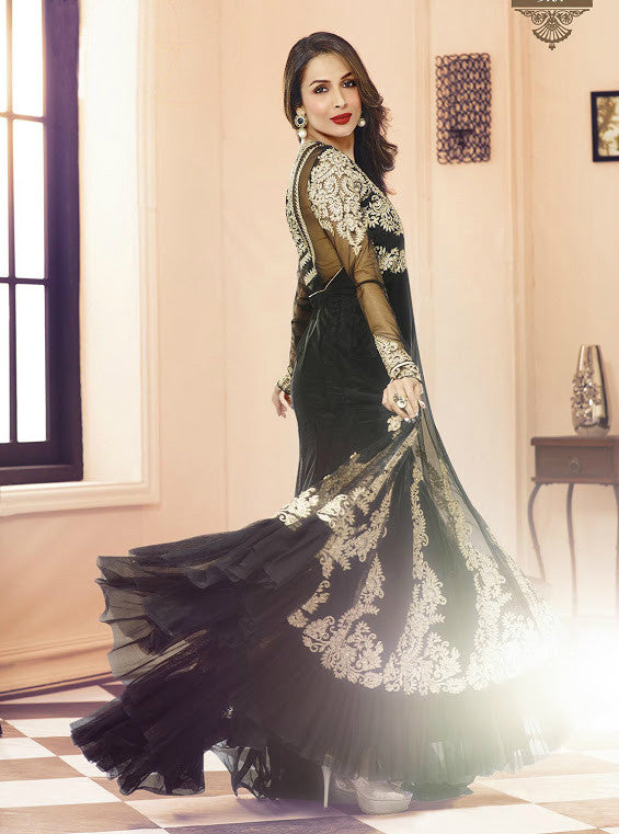Black Net Designer Floor Length Anarkali Suit-Saira's Boutique