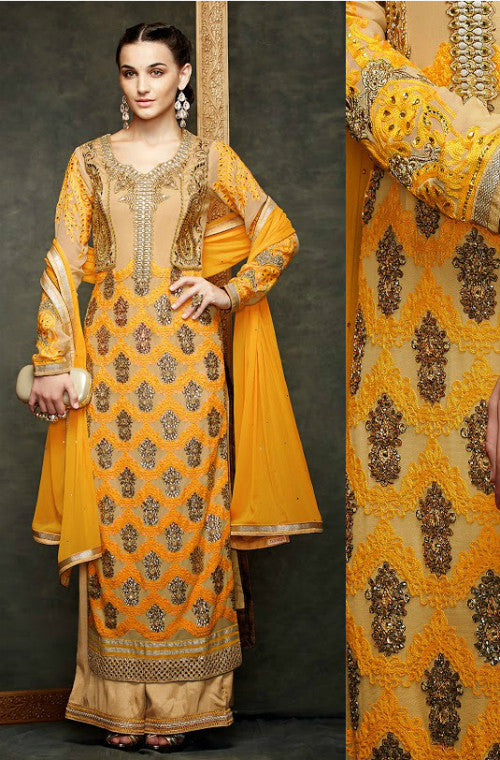 Yellow Chiffon Embroidered Straight Suit - Saira's Boutique