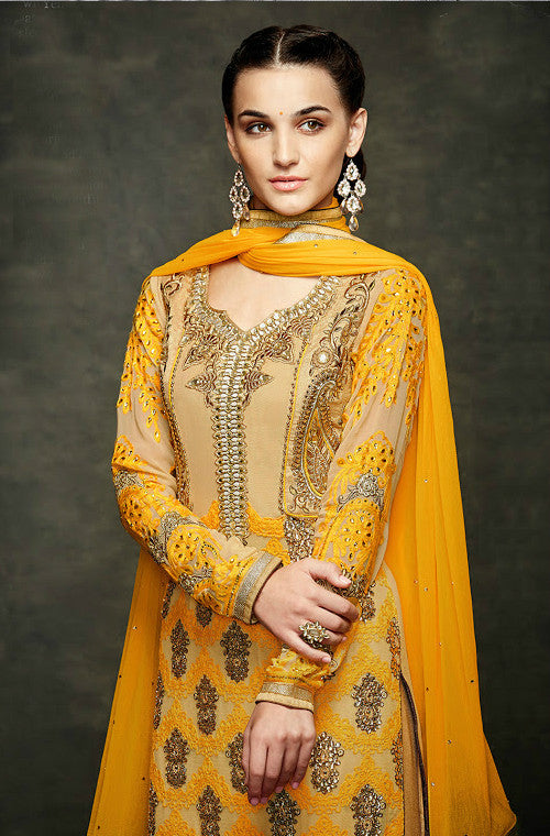 Yellow Chiffon Embroidered Straight Suit-Saira's Boutique