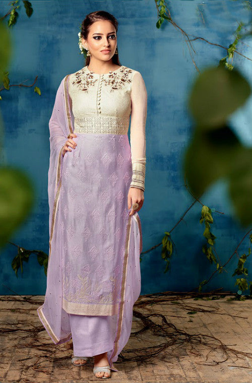 Lavender Chiffon Embroidered Straight Suit - Saira's Boutique